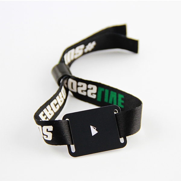 Hot Sale Black Wristband RFID Tag Woven Event Bracelets