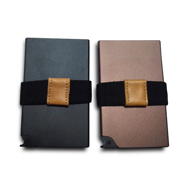 Rfid alu pop business card holder wallet with woven stretch for Rfid business cards