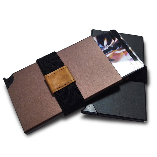 Rfid alu pop business card holder wallet with woven stretch pop business cards holder reheart Images