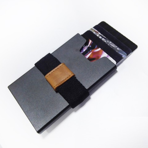 manual alu business card holder