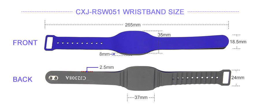 Bicolor UHF RFID silicone wristband size