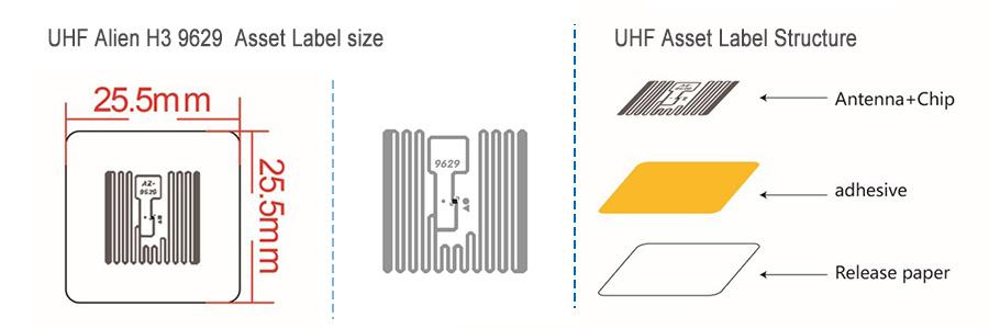 UHF alien h3 9629 asset label size