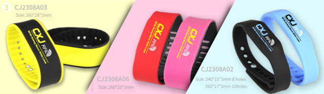 Adjustable colorful RFID Silicone Wristbands