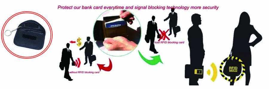 RFID blocking pouch protector our bank card everytime