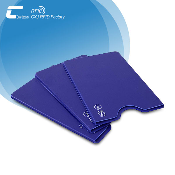 Blue PVC RFID credit card protective sleeves