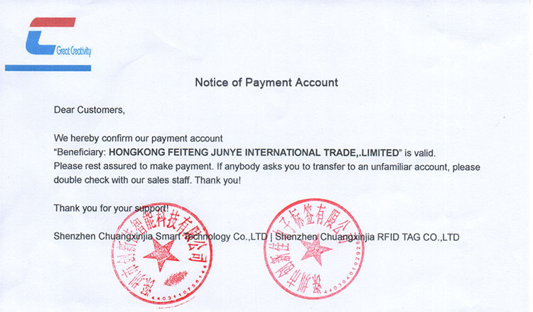 Notice of Payment Account