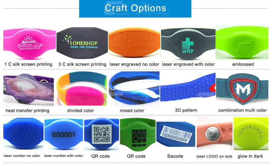 Variety of RFID silicone wristband craft options
