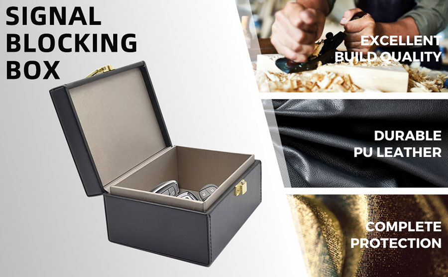 Fashion PU Leather RFID Signal Blocking Box